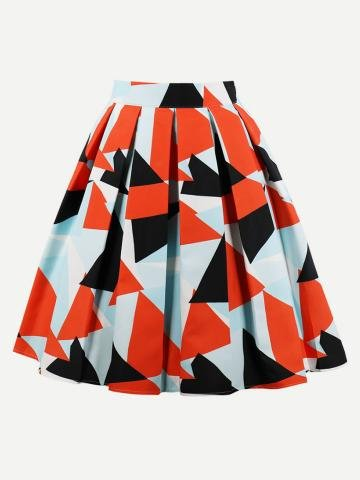 Knee lenght skirt with triangular geometric pattern. Colors used are black,red,sky blue.